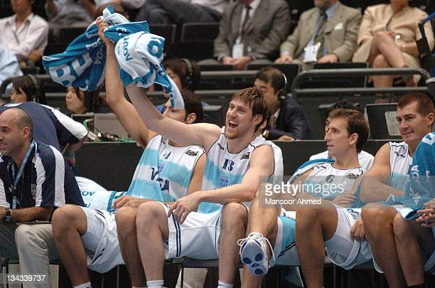 Chicago Bulls forward Andres Nocioni of Argentina starts the celebrations during the FIBA World Championship 2006 quarterfinal game between Argentina...