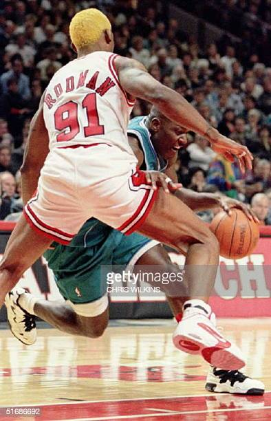 Chicago Bulls forward Dennis Rodman fouls Charlotte Hornets forward Larry Johnson as he drives to the basket in the first quarter 03 November during...