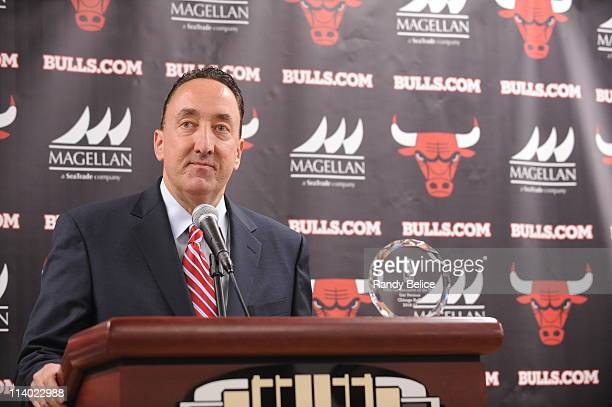 Chicago Bulls General Manager Gar Forman addresses the media during a press conference to announce his naming as the corecipient of the 201011 NBA...