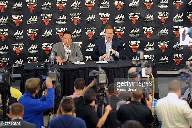 Chicago Bulls General Manager Gar Forman and new Head Coach Fred Hoiberg respond to questions from the media during a press conference on June 2 2015...