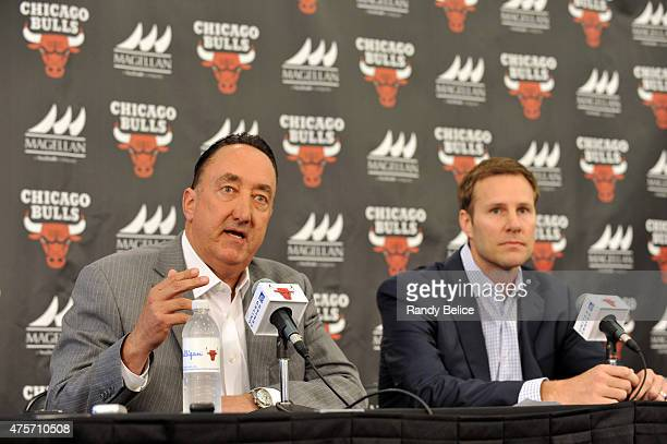 Chicago Bulls General Manager Gar Forman introduces new Head Coach Fred Hoiberg during a press conference on June 2 2015 at the Advocate Center in...