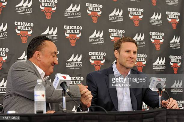 Chicago Bulls General Manager Gar Forman officially welcomes new Head Coach Fred Hoiberg during a press conference on June 2 2015 at the Advocate...