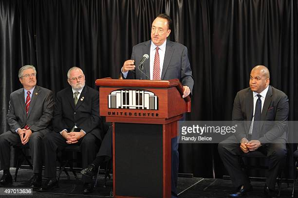 Chicago Bulls General Manager Gar Forman speaks during a press conference to announce the Chicago Bulls rights to own and operate an NBA Development...