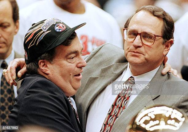Chicago Bulls General Manager Jerry Krause and team owner Jerry Reinsdorf celebrate14 June after the Bulls won game six of the NBA Finals against the...