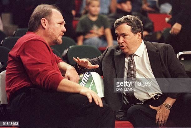 Chicago Bulls' General Manager Jerry Krause talks with Seattle SuperSonics Coach George Karl prior to the BullsSuperSonics game 25 November in...