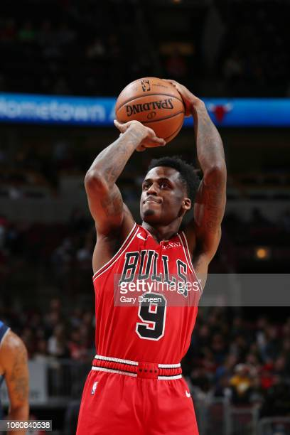 Chicago Bulls guard Antonio Blakeney shoots a free throw during the game against the Dallas Mavericks on November 12 2018 at the United Center in...