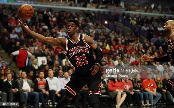 Chicago Bulls guard Jimmy Butler grabs a rebound during the first half on Monday March 23 at the United Center in Chicago