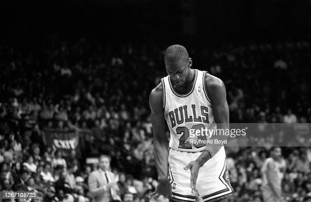 Chicago Bulls guard Michael Jordan at the free throw line during a game against the Cleveland Cavaliers at Chicago Stadium in Chicago, Illinois in...