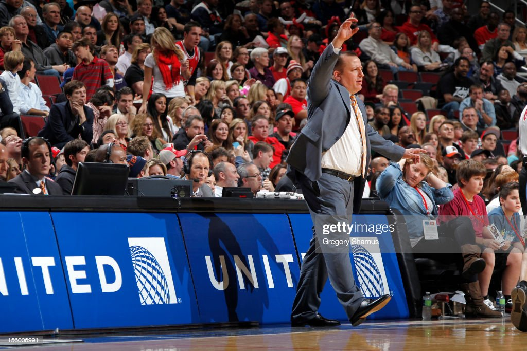 Chicago Bulls Head Coach Tom Thibodeau directs his team during the game against the Minnesota Timberwolves on November 10, 2012 at the United Center in Chicago, Illinois.