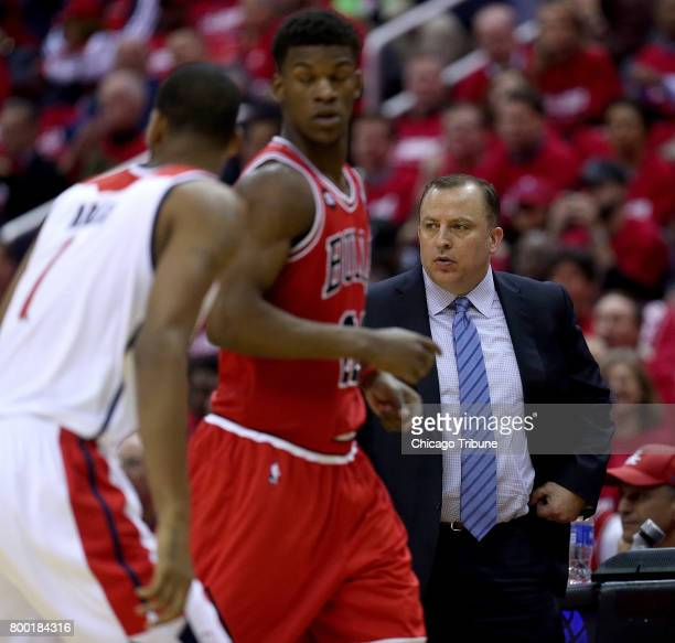 Chicago Bulls head coach Tom Thibodeau watches as Bulls guard Jimmy Butler runs a play in 2014 Butler was tarded to the Timberwolves