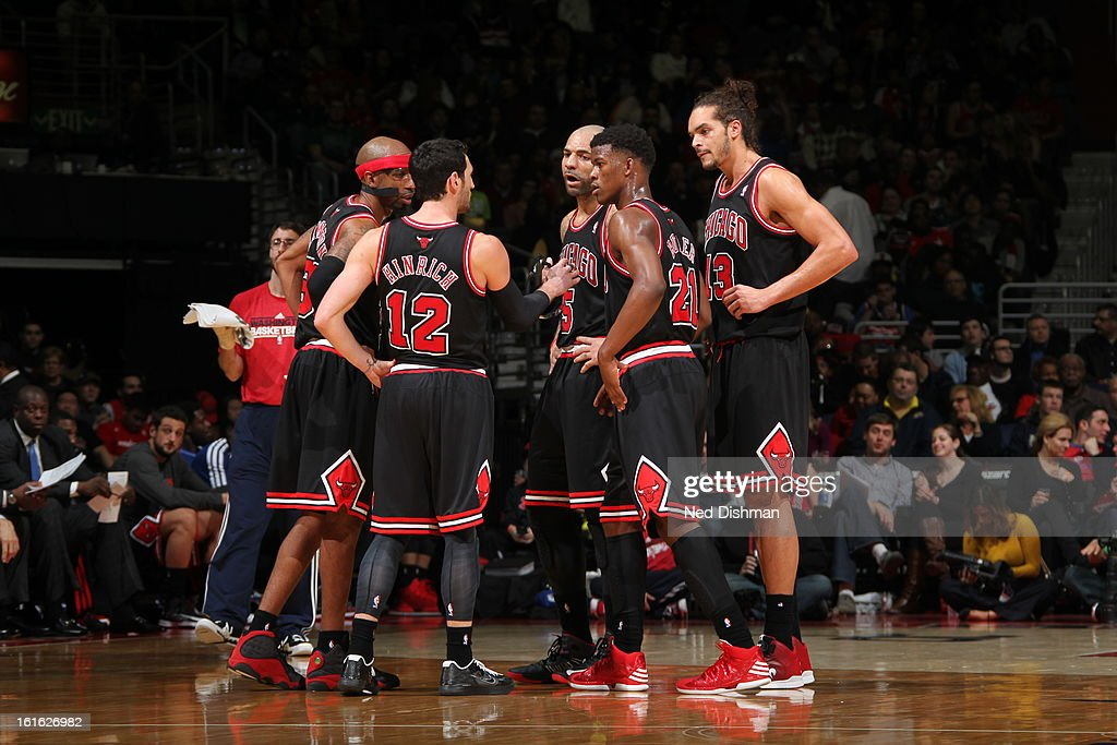 Chicago Bulls huddle up during the game against the Washington Wizards at the Verizon Center on January 26, 2013 in Washington, DC.