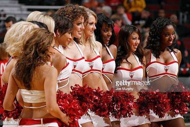 Chicago Bulls Luvabulls dance team members gather for a picture prior to the start of the NBA game against the Memphis Grizzlies on November 1 2008...
