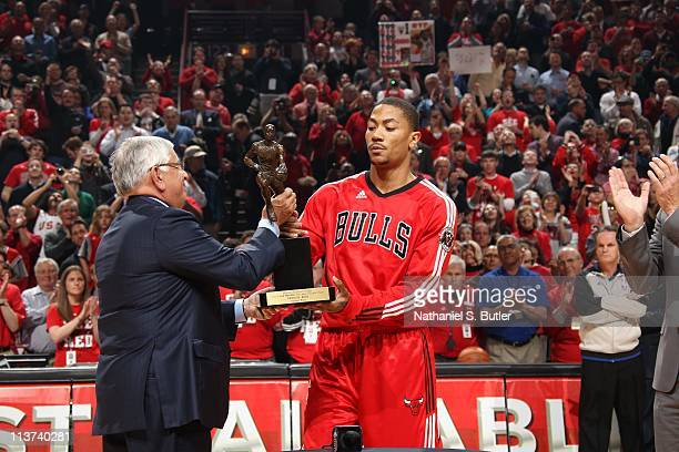 Chicago Bulls point guard Derrick Rose receives a KIA Motors NBA MVP Trophy in Game Two of the Eastern Conference Semifinals against the Atlanta...