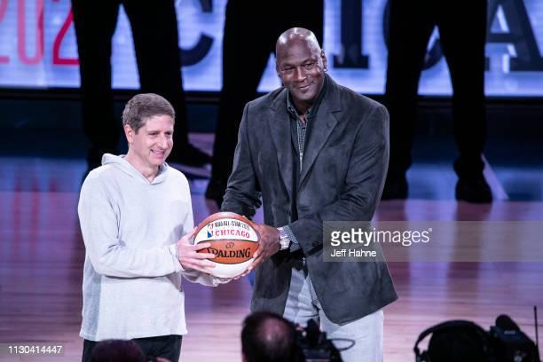 Chicago Bulls President/COO Michael Reinsdorf Jr accepts the ceremonial AllStar ball from Charlotte Hornets Chairman Michael Jordan at the 68th NBA...