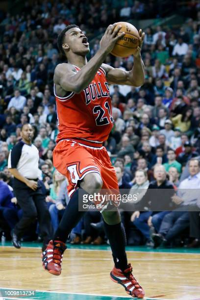 Chicago Bulls small forward Jimmy Butler goes for the layup during the Boston Celtics 7169 victory over the Chicago Bulls at TD Garden on February 13...