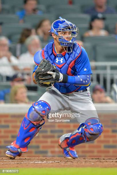 Chicago catcher Willson Contreras prepares to throw to second base during a game between the Chicago Cubs and the Atlanta Braves on July 18 2017 at...