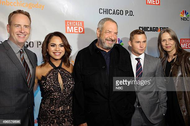 EVENTS NBC Chicago Celebration Party Pictured Robert Greenblatt Chairman NBC Entertainment Monica Raymund Chicago Fire Dick Wolf Executive Producer...