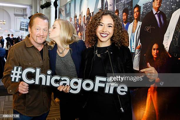 EVENTS NBC Chicago Celebration Pictured Christian Stolte Kara Killmer and Dora Madison Chicago Fire at Cinespace Chicago Film Studios on November 9...