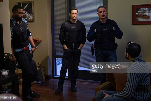 EVENTS 'NBC Chicago Celebration' Pictured LaRoyce Hawkins Jesse Lee Soffer Brian Luce Tech Advisor take part in the 'Chicago PD' demonstration at...