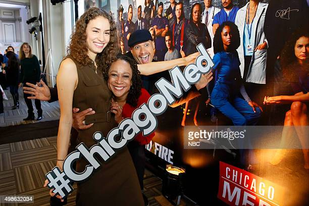 """Chicago Celebration"""" -- Pictured: Rachel DiPillo and S. Epatha Merkerson, """"Chicago Med"""" and Joe Minoso, """"Chicago Fire"""" at Cinespace Chicago Film..."""
