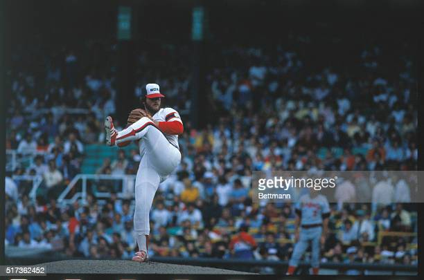 Chicago White Sox pitcher Lamarr Hoyt pitching in White SoxCalifornia Angels game Hoyt won his 20 tonight and became first 20 game winner in American...
