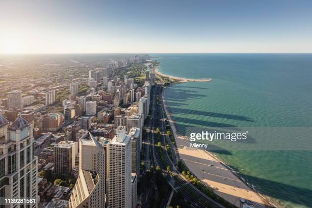 chicago city lake michigan waterfront aerial view - lake michigan stock pictures, royalty-free photos & images