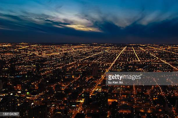 chicago city lights - ken ilio stock photos and pictures