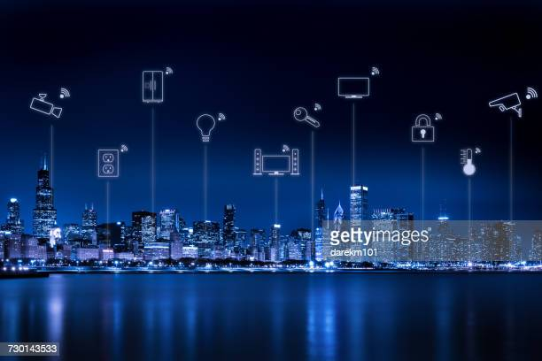 Chicago city skyline with internet of things