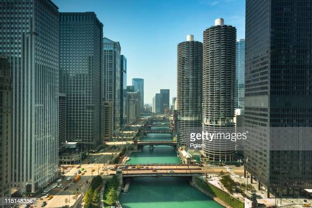 chicago cityscape and bridges over the river - chicago river stock pictures, royalty-free photos & images