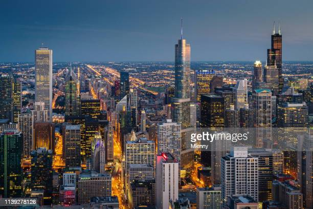 chicago cityscape at night aerial view - chicago illinois stock pictures, royalty-free photos & images