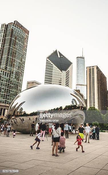 Chicago Cloud Gate Called The Bean With Skyline
