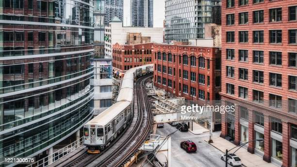 chicago cta elevated train panorama urban railroad - chicago illinois stock pictures, royalty-free photos & images