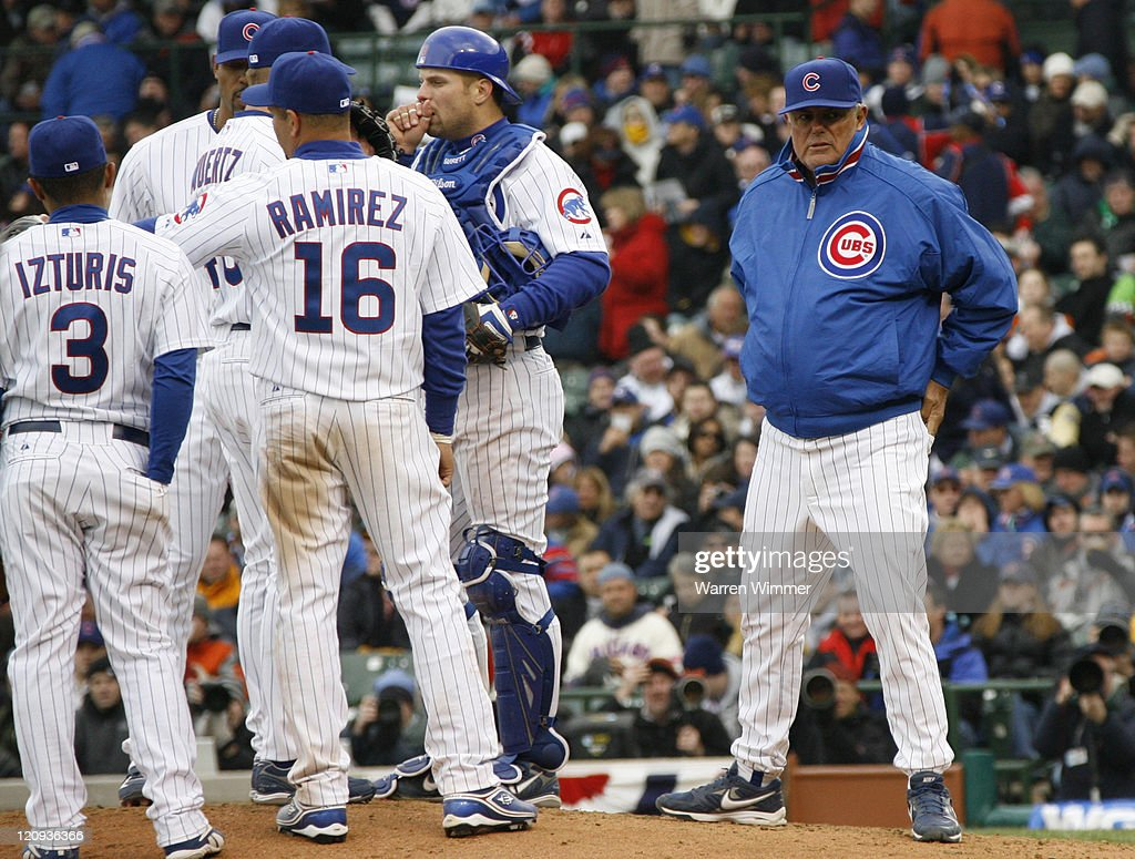 Chicago Cub manager, Lou Piniella, makes a pitching change, at the season Home Opener for the Chicago Cubs at Wrigley Field, Chicago, Il on April 9, 2007. The Houston Astros defeated the Chicago Cubs by a score of 5 to 3.