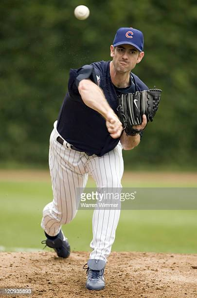 Chicago Cub pitcher Mark Prior throwing from the left field bullpen during pregame warm ups at Wrigley Field Chicago Illinois USA July 19 the Houston...