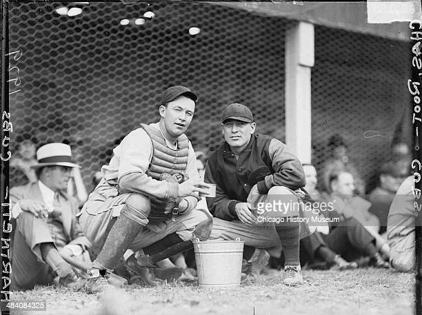 Chicago Cubs baseball catcher Leo 'Gabby' Hartnett and Charles Root at Wrigley Field located at 1060 West Addison Street Chicago Illinois 1929 This...