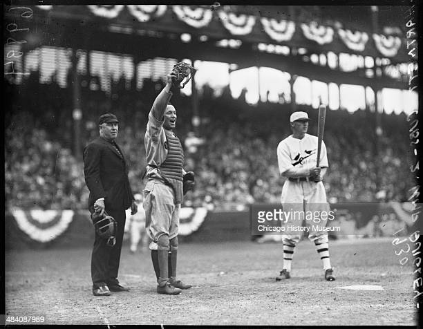 Chicago Cubs baseball catcher Leo Gabby Hartnett standing behind home plate during an Opening Day game against the National League's St Louis...