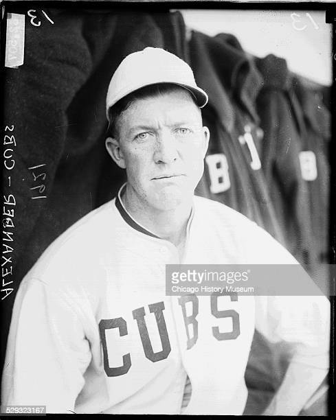 Chicago Cubs baseball player Grover Cleveland Alexander sitting in a dugout at Weeghman Park Chicago Illinois 1921 Weeghman Park was renamed Wrigley...