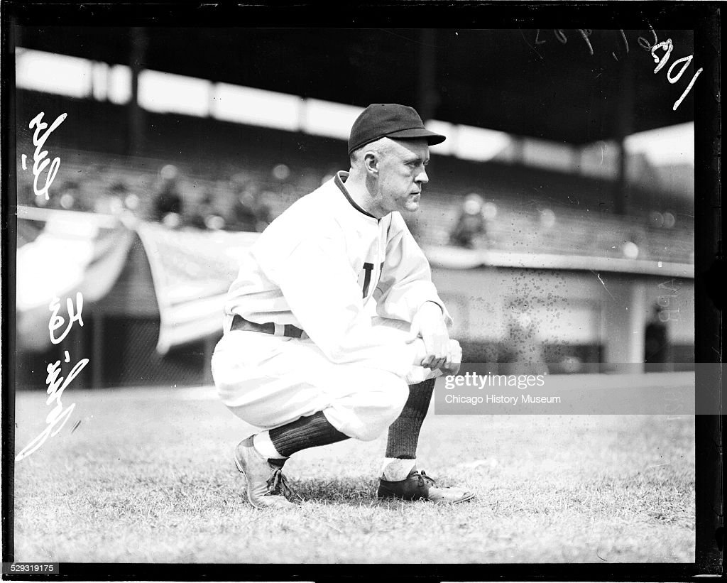 Chicago Cubs baseball player Johnny Evers on the field at Weeghman Park (later renamed Wrigley Field), Chicago, Illinois, 1919.