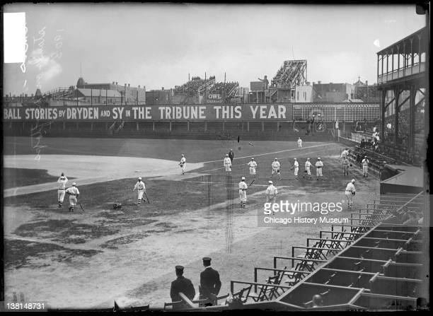 Chicago Cubs baseball players warming up on the field before a game against the Cincinnati Reds at West Side Grounds Chicago Illinois 1908 From the...