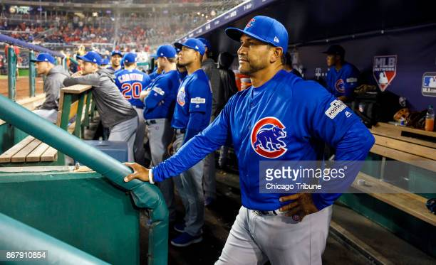 Chicago Cubs bench coach Dave Martinez in the dugout Friday Oct 6 2017 in Game 1 of a National League Division Series playoff The Cubs defeated the...