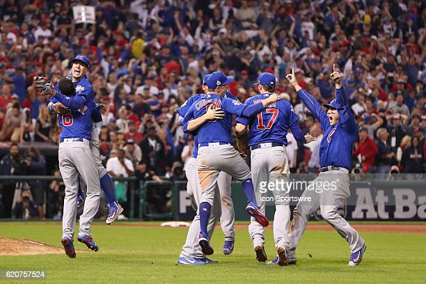 Chicago Cubs Carl Edwards Javier Baez Chris Coghlan Kris Bryant Addison Russell and Anthony Rizzo celebrate after game 7 of the 2016 World Series...