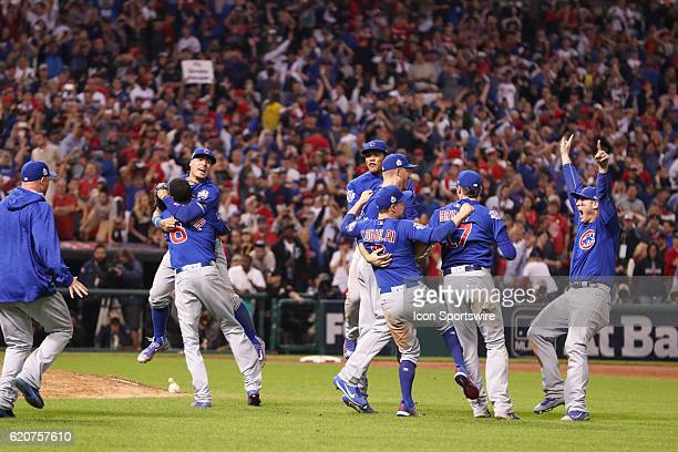 Chicago Cubs Carl Edwards Javier Baez Chris Coghlan Kris Bryant Addison Russell and Anthony Rizzo celebrate after winning game 7 of the 2016 World...