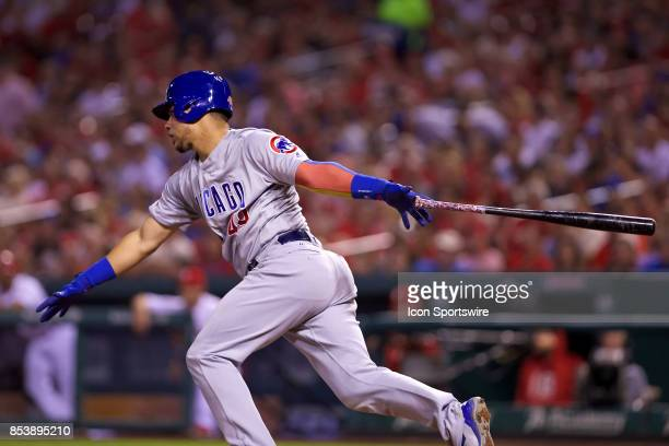 Chicago Cubs catcher Willson Contreras at bat against the St Louis Cardinals during a MLB baseball game between the St Louis Cardinals and the...
