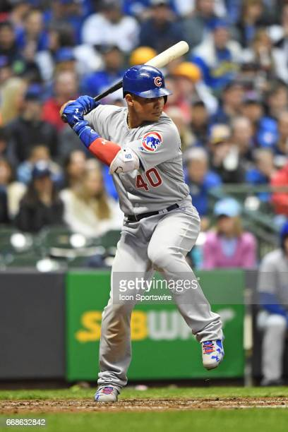 Chicago Cubs catcher Willson Contreras at bat during a game between the Chicago Cubs and the Milwaukee Brewers on April 7 at Miller Park in Milwaukee...