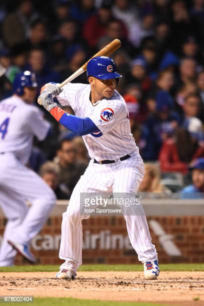 Chicago Cubs catcher Willson Contreras at bat during a game between the Philadelphia Phillies and the Chicago Cubs on May 2 at Wrigley Field in...