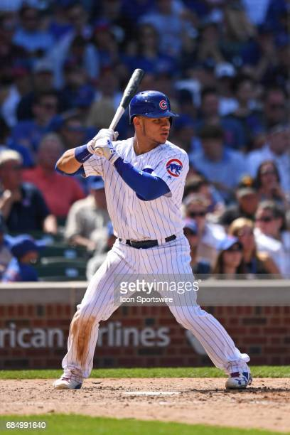 Chicago Cubs catcher Willson Contreras at bat during a game between the Cincinnati Reds and the Chicago Cubs on May 18 at Wrigley Field in Chicago IL...
