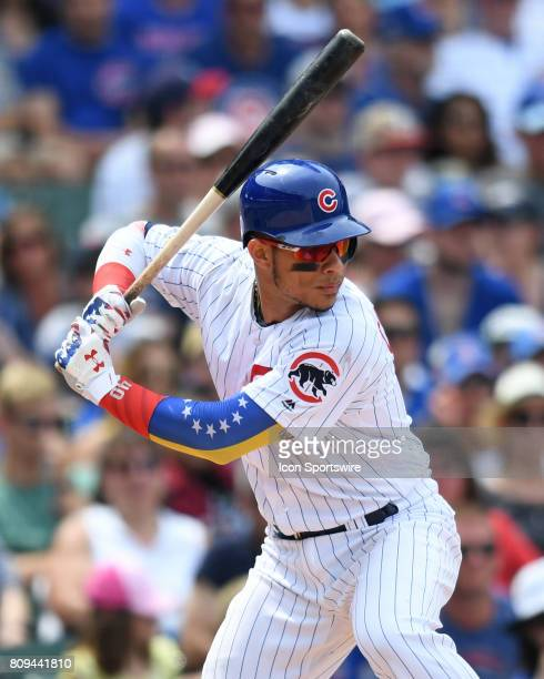 Chicago Cubs catcher Willson Contreras at bat during a game between the Tampa Bay Rays and the Chicago Cubs on July 4 at Wrigley Field in Chicago IL
