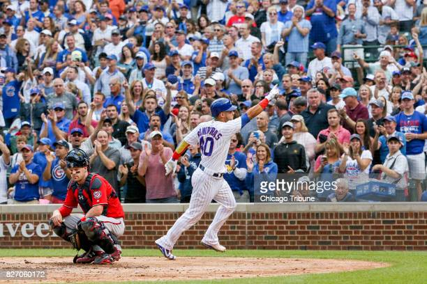 Chicago Cubs catcher Willson Contreras celebrates after hitting a home run during the fourth inning against the Washington Nationals on Sunday Aug 6...