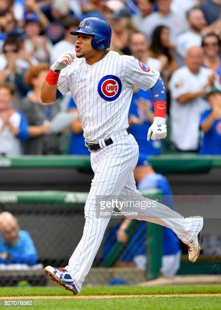 Chicago Cubs catcher Willson Contreras celebrates after hitting a home run during the game between the Washington Nationals and the Chicago Cubs on...