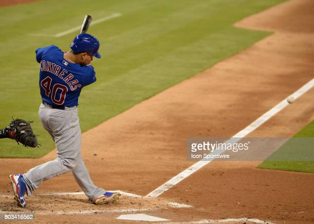 Chicago Cubs catcher Willson Contreras grounded out to third during the top of the third inning in a game between the Miami Marlins and the Chicago...